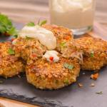Crab Cakes rolled in Oats with Lemon Aioli