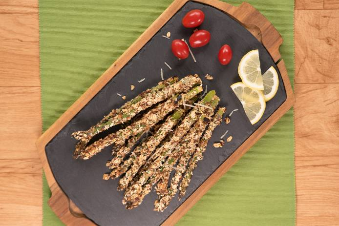 Parmesan and Oat Breaded Asparagus