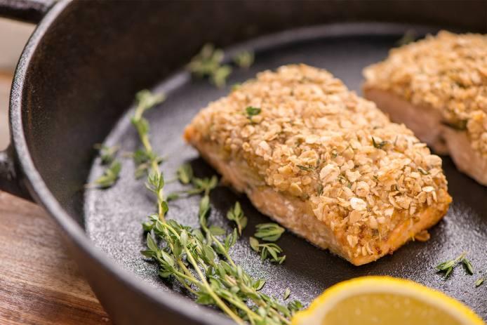 Honey Mustard Oat Crusted Salmon