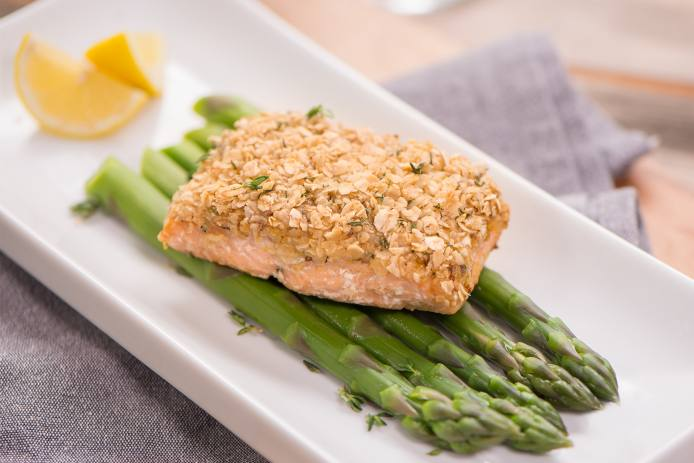 Honey Mustard Oat-Crusted Salmon
