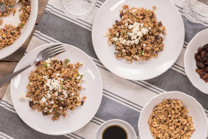 Oat Pilaf With Walnuts Raisins And Feta