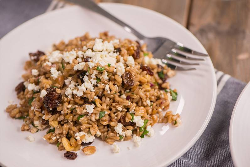 Oat Pilaf With Walnuts, Raisins And Feta