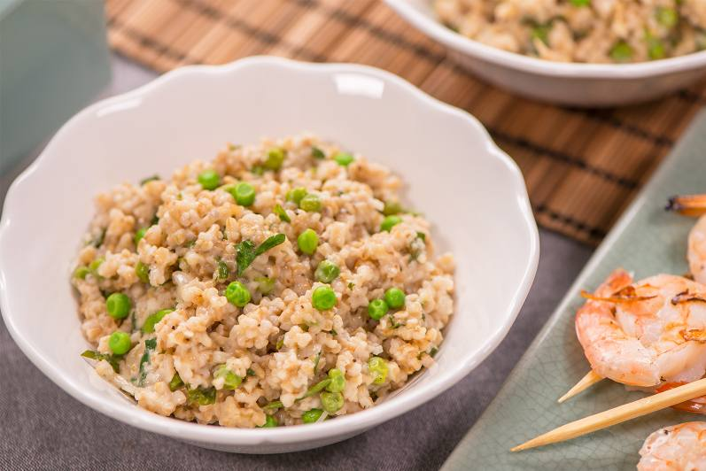 Oat Risotto With Parmesan And Peas